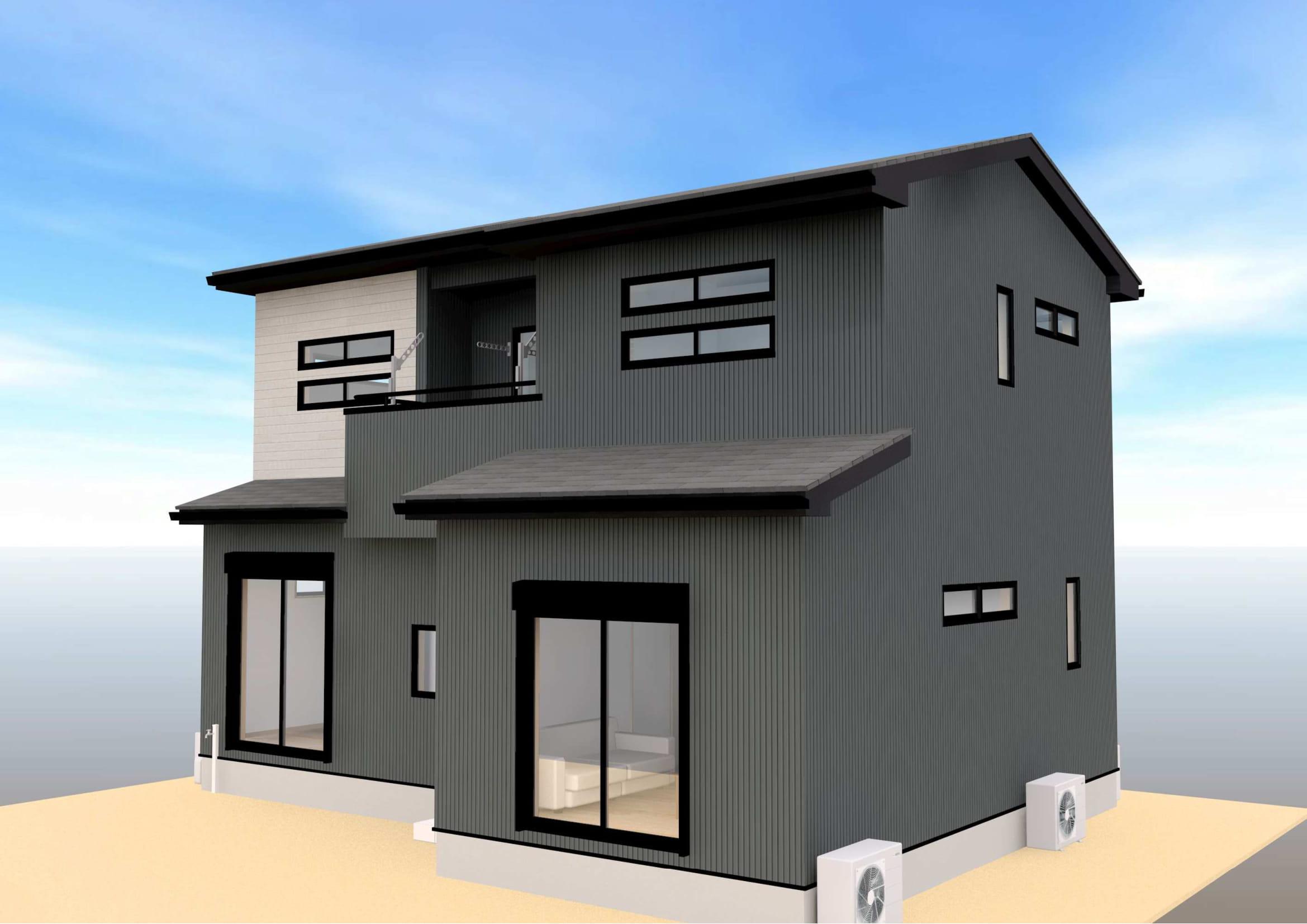 完成イメージ図③。外壁はブラックを中心とした落ち着きのある外観です。